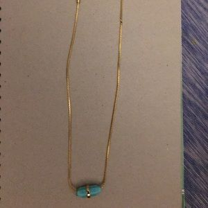 Michael Kors Short Gold Necklace With Blue Gem